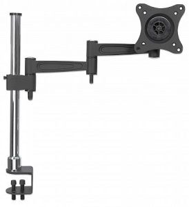 Manhattan Monitor Desk Mount (clamp), 1 screen, 10-27, Vesa 75x75 to 100x100mm, 3 pivots (full motion), Height 0-40cm, Max 15kg, Black/Silver Pole, Box