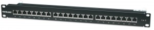 Intellinet Patch Panel, Cat6, FTP, 24-Port, 1U, Shielded, 90° Top-Entry Punch-Down Blocks, Black
